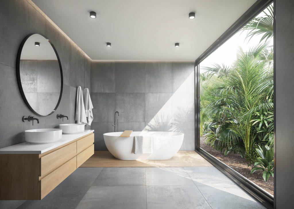 Łazienka z widokiem na palmy